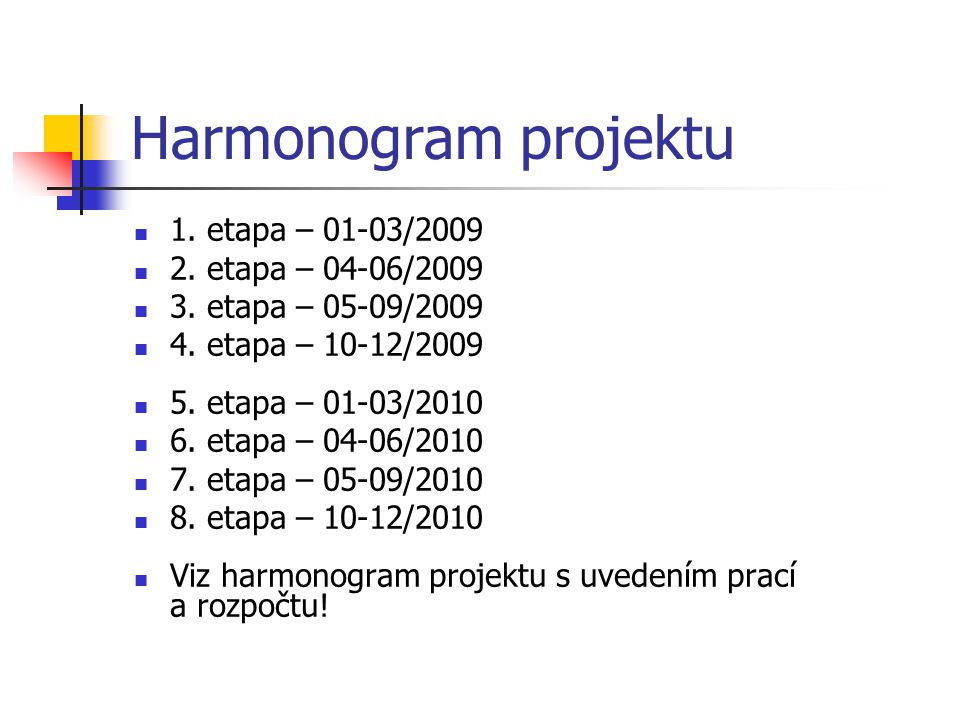 Harmonogram projektu 1. etapa – 01-03/2009 2. etapa – 04-06/2009 3. etapa – 05-09/2009 4. etapa – 10-12/2009 5. etapa – 01-03/2010 6. etapa – 04-06/20