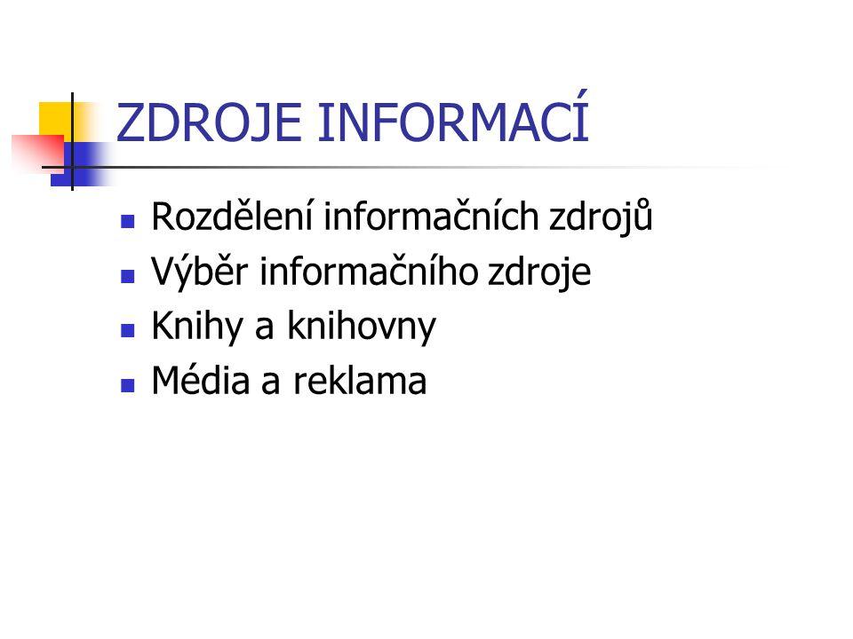 ZDROJE INFORMACÍ Rozdělení informačních zdrojů Výběr informačního zdroje Knihy a knihovny Média a reklama