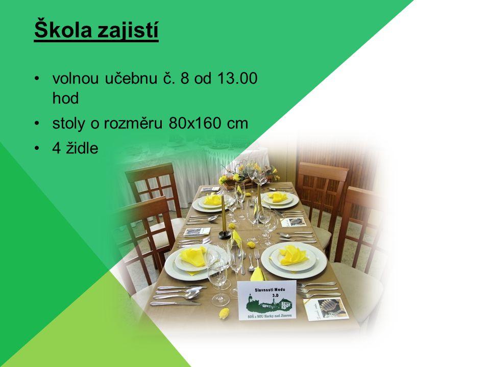 Škola zajistí volnou učebnu č. 8 od 13.00 hod stoly o rozměru 80x160 cm 4 židle