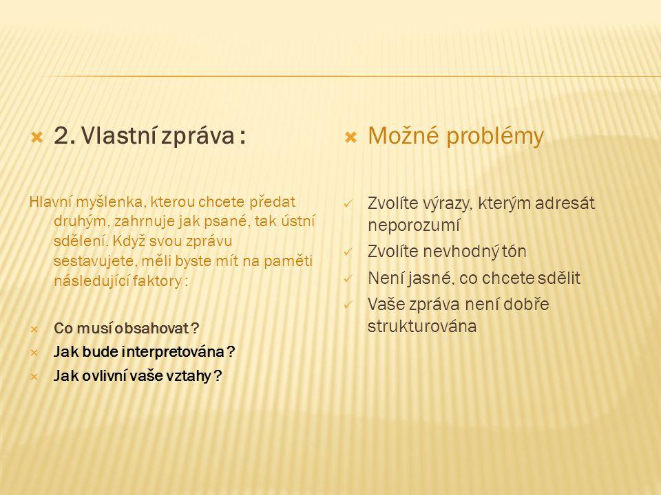  3.Prostředek vyjádření : Vyjadřovací prostředek je metoda, kterou si pro sdělení zprávy zvolíte.