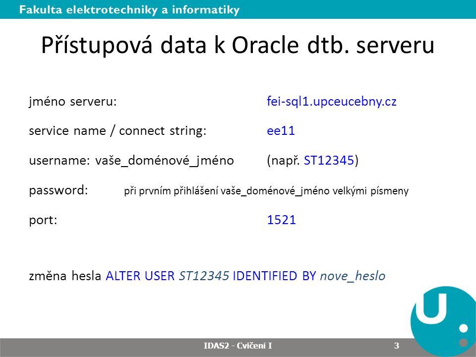 Nastavení připojení v SQL Developeru IDAS2 - Cvičení I 4