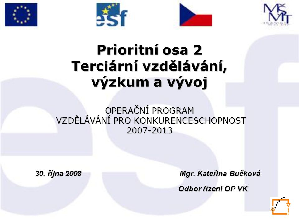 1 Prioritní osa 2 Terciární vzdělávání, výzkum a vývoj OPERAČNÍ PROGRAM VZDĚLÁVÁNÍ PRO KONKURENCESCHOPNOST 2007-2013 30.