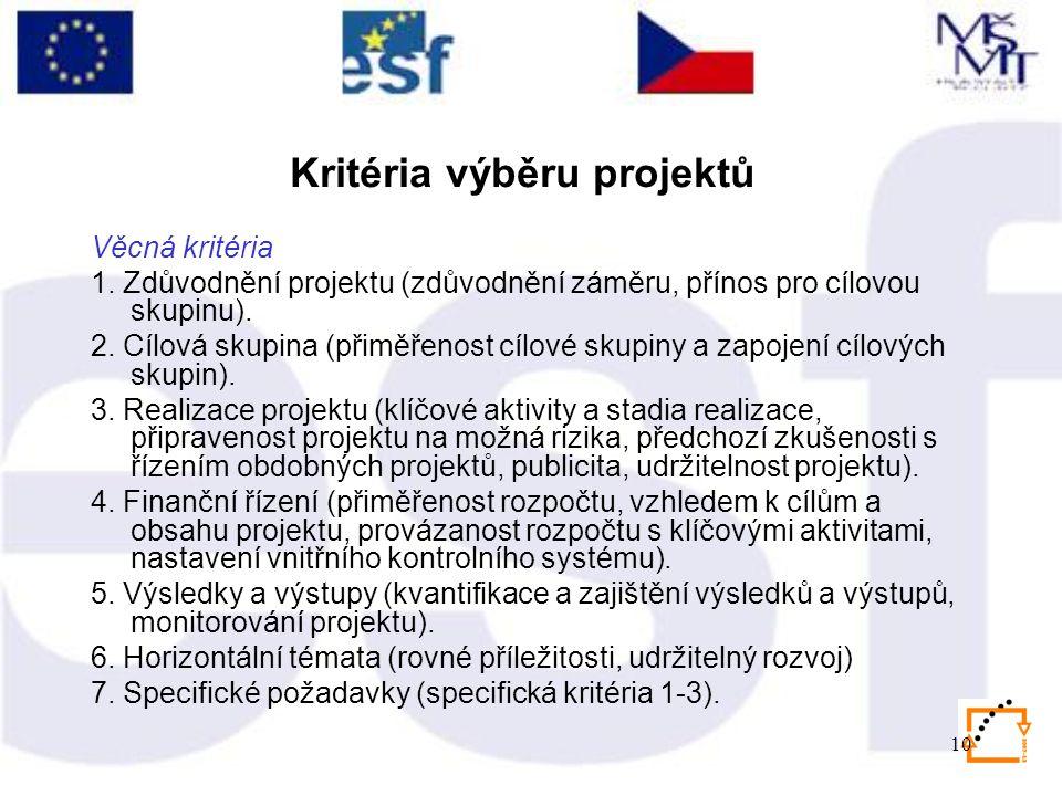 10 Kritéria výběru projektů Věcná kritéria 1.