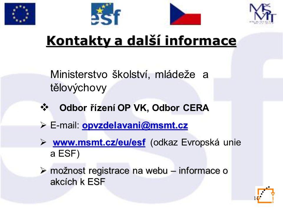 11 Kontakty a další informace Ministerstvo školství, mládeže a tělovýchovy  Odbor řízení OP VK, Odbor CERA opvzdelavani@msmt.cz opvzdelavani@msmt.cz  E-mail: opvzdelavani@msmt.czopvzdelavani@msmt.cz www.msmt.cz/eu/esfwww.msmt.cz/eu/esf  www.msmt.cz/eu/esf (odkaz Evropská unie a ESF)www.msmt.cz/eu/esf  možnost registrace na webu – informace o akcích k ESF