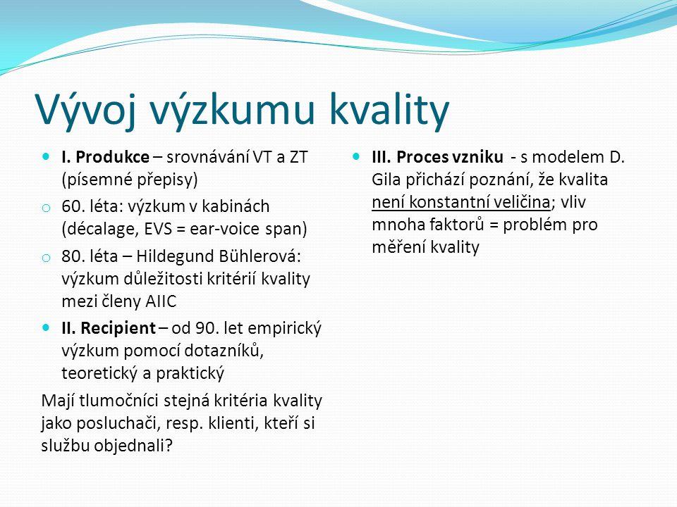 Vývoj výzkumu kvality I. Produkce – srovnávání VT a ZT (písemné přepisy) o 60. léta: výzkum v kabinách (décalage, EVS = ear-voice span) o 80. léta – H