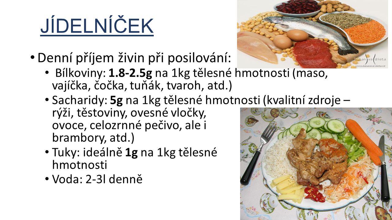 JÍDELNÍČEK Denní příjem živin při posilování: Bílkoviny: 1.8-2.5g na 1kg tělesné hmotnosti (maso, vajíčka, čočka, tuňák, tvaroh, atd.) Sacharidy: 5g n