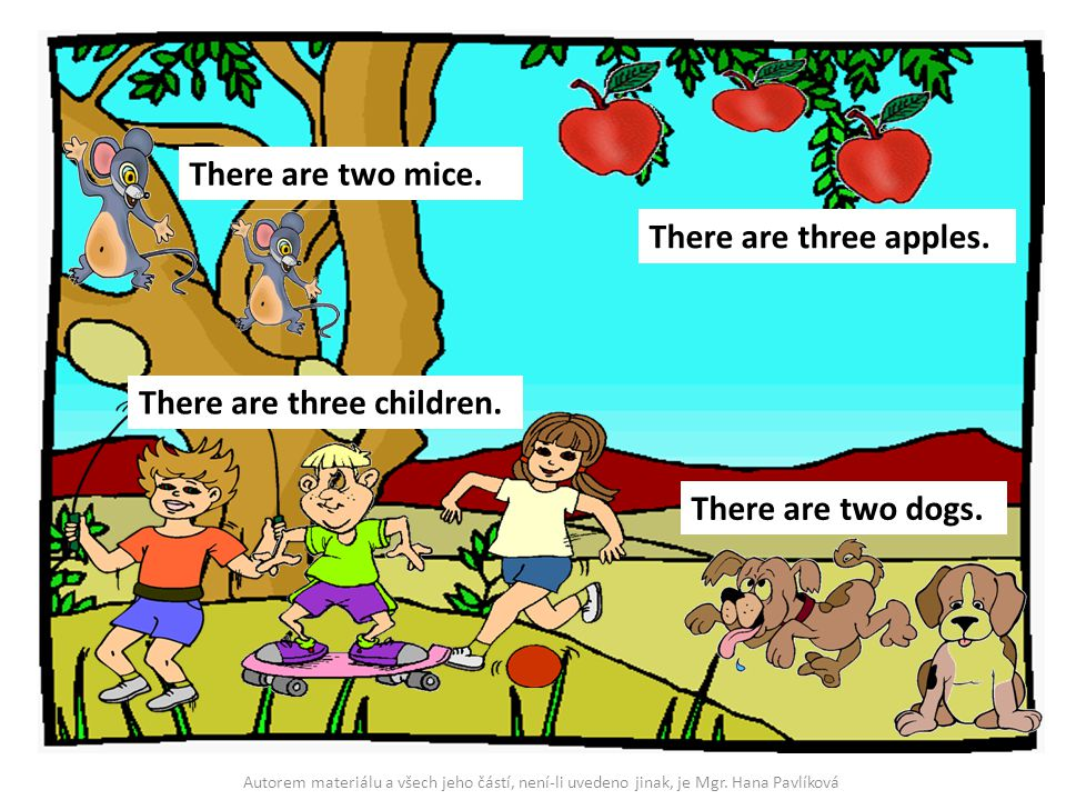 There are three apples. There are two mice. There are two dogs. There are three children. Autorem materiálu a všech jeho částí, není-li uvedeno jinak,