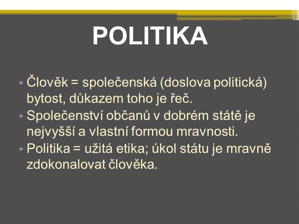 POLITIKA Člověk = společenská (doslova politická) bytost, důkazem toho je řeč.