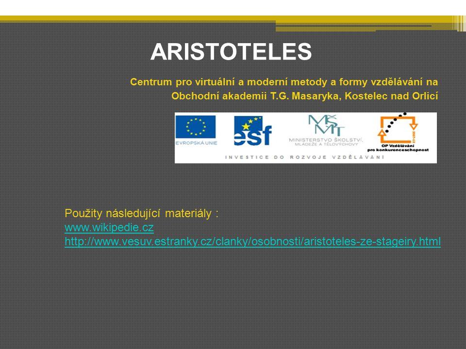 ARISTOTELES Centrum pro virtuální a moderní metody a formy vzdělávání na Obchodní akademii T.G.
