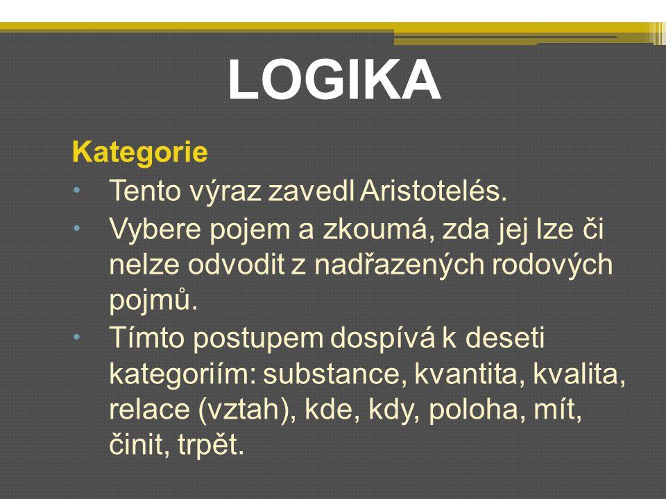 LOGIKA Kategorie  Tento výraz zavedl Aristotelés.