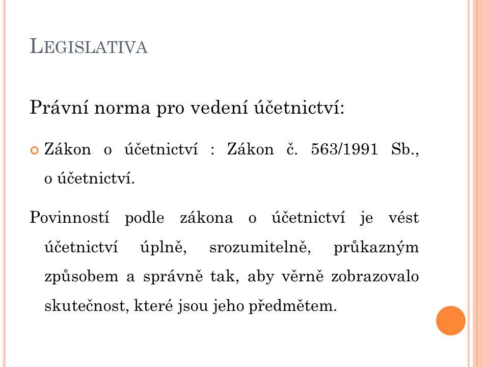 L EGISLATIVA Právní norma pro vedení účetnictví: Zákon o účetnictví : Zákon č.