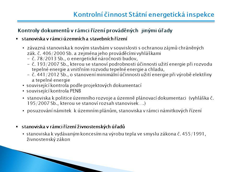 Kontrolní činnost Státní energetická inspekce Kontroly dokumentů v rámci řízení prováděných jinými úřady  stanoviska v rámci územních a stavebních ří