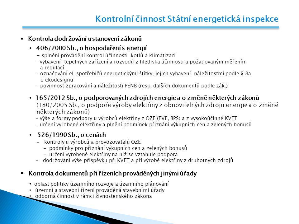 Kontrolní činnost Státní energetická inspekce  Kontrola dodržování ustanovení zákonů 406/2000 Sb., o hospodaření s energií - splnění provádění kontro