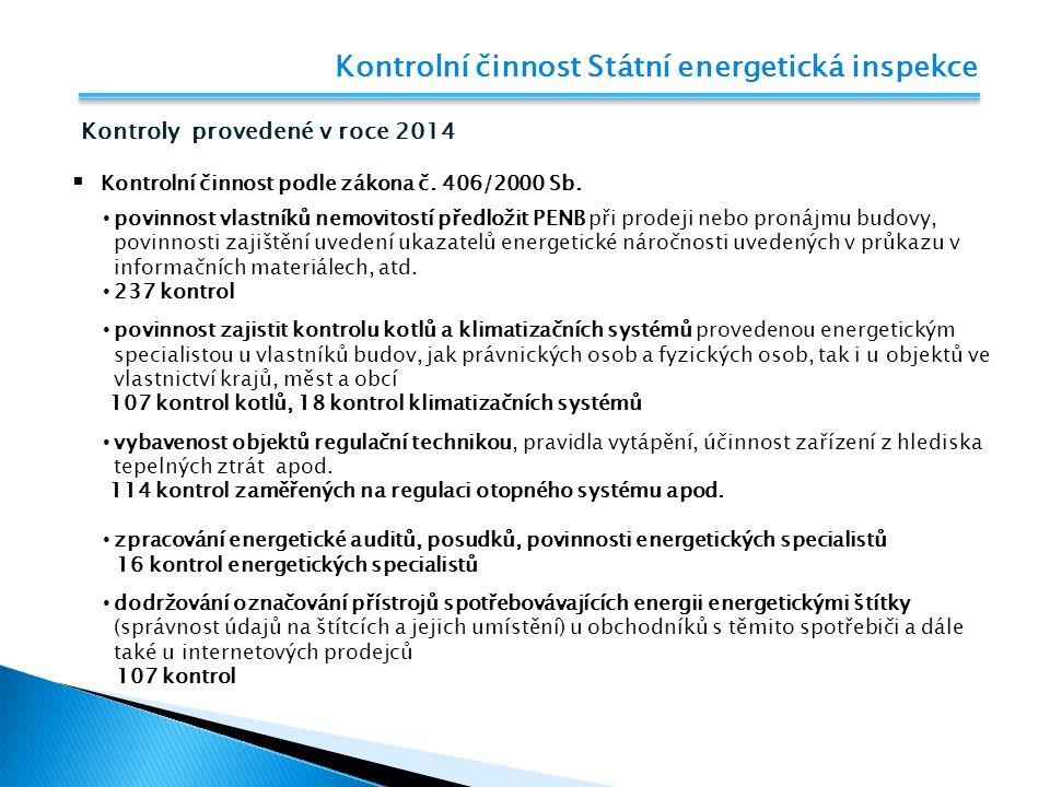Kontrolní činnost Státní energetická inspekce Kontroly provedené v roce 2014  Kontrolní činnost podle zákona č. 406/2000 Sb. povinnost vlastníků nemo