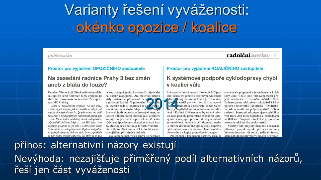 Varianty řešení vyváženosti: okénko opozice / koalice přínos: alternativní názory existují Nevýhoda: nezajišťuje přiměřený podíl alternativních názorů