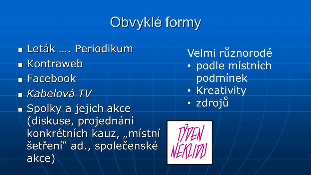 Obvyklé formy Leták …. Periodikum Leták …. Periodikum Kontraweb Kontraweb Facebook Facebook Kabelová TV Kabelová TV Spolky a jejich akce (diskuse, pro