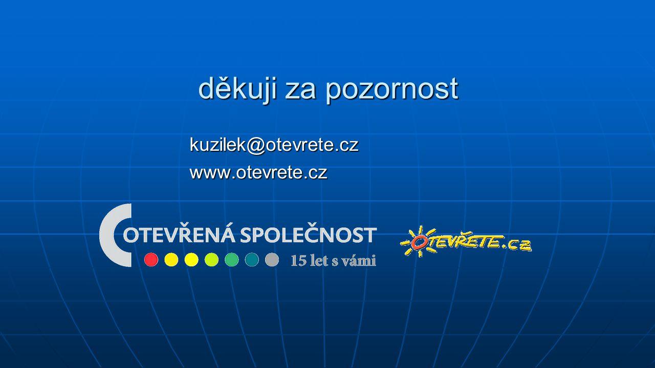 děkuji za pozornost kuzilek@otevrete.cz www.otevrete.cz