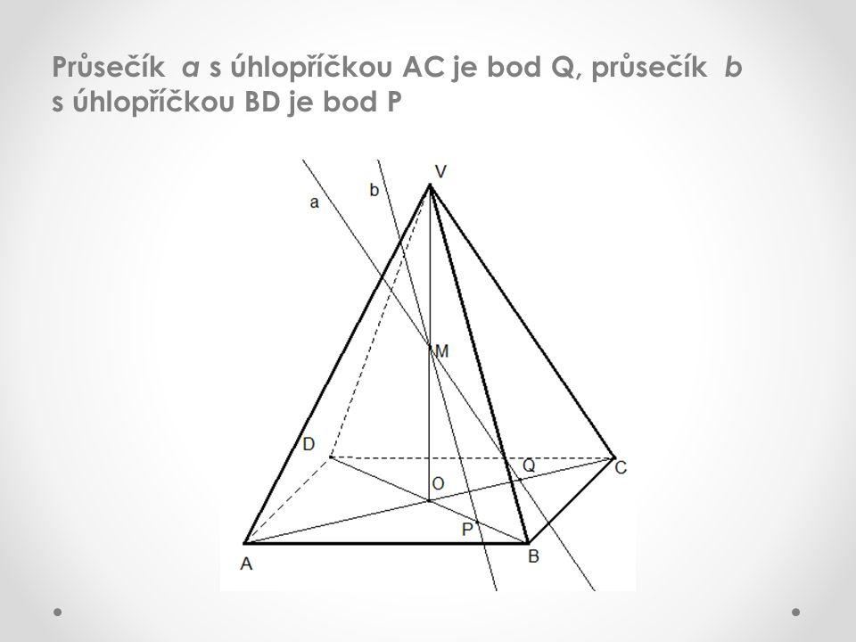 Přímka r = PQ je průsečnicí roviny podstavy a roviny MPQ