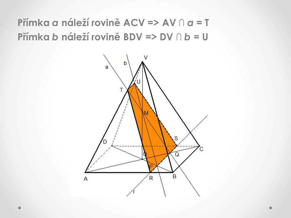Přímka a náleží rovině ACV => AV ∩ a = T Přímka b náleží rovině BDV => DV ∩ b = U