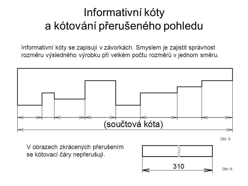 Informativní kóty a kótování přerušeného pohledu Informativní kóty se zapisují v závorkách. Smyslem je zajistit správnost rozměru výsledného výrobku p