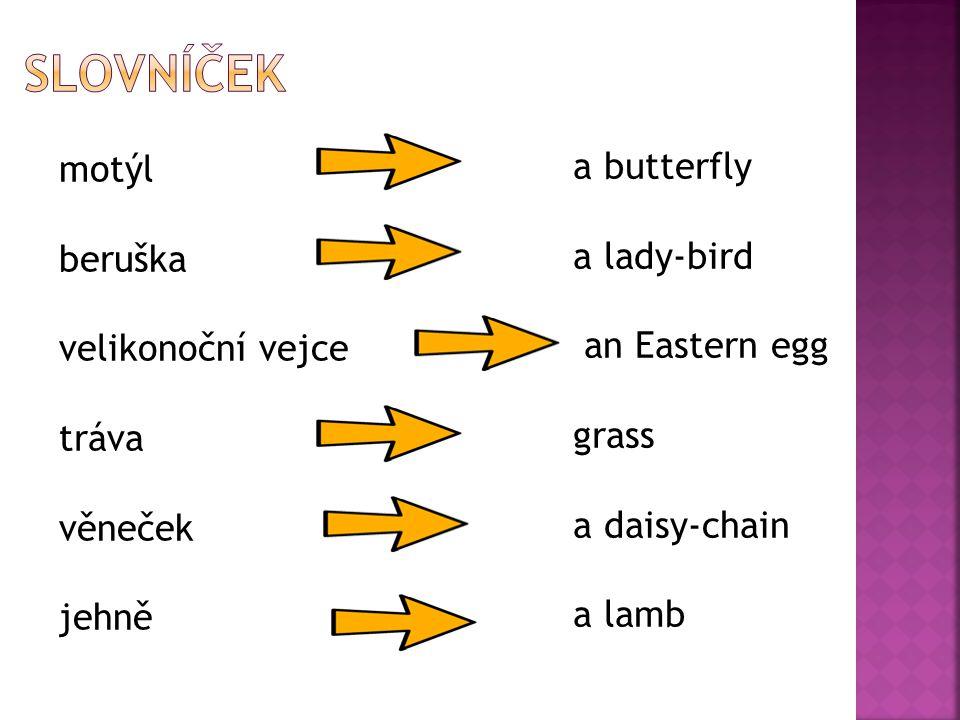 motýl beruška velikonoční vejce tráva věneček jehně a butterfly a lady-bird an Eastern egg grass a daisy-chain a lamb