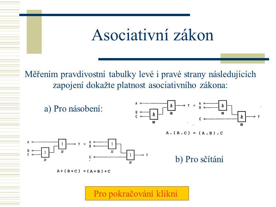 Komutativní zákon Měřením pravdivostní tabulky levé i pravé strany následujících zapojení dokažte platnost komutativního zákona: a) Pro násobení: Pro