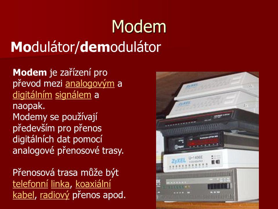 Modem Modem je zařízení pro převod mezi analogovým a digitálním signálem a naopak.analogovým digitálnímsignálem Modemy se používají především pro přen