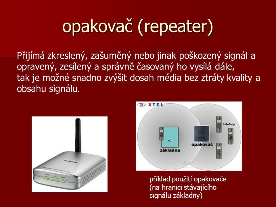 opakovač (repeater) Přijímá zkreslený, zašuměný nebo jinak poškozený signál a opravený, zesílený a správně časovaný ho vysílá dále, tak je možné snadn