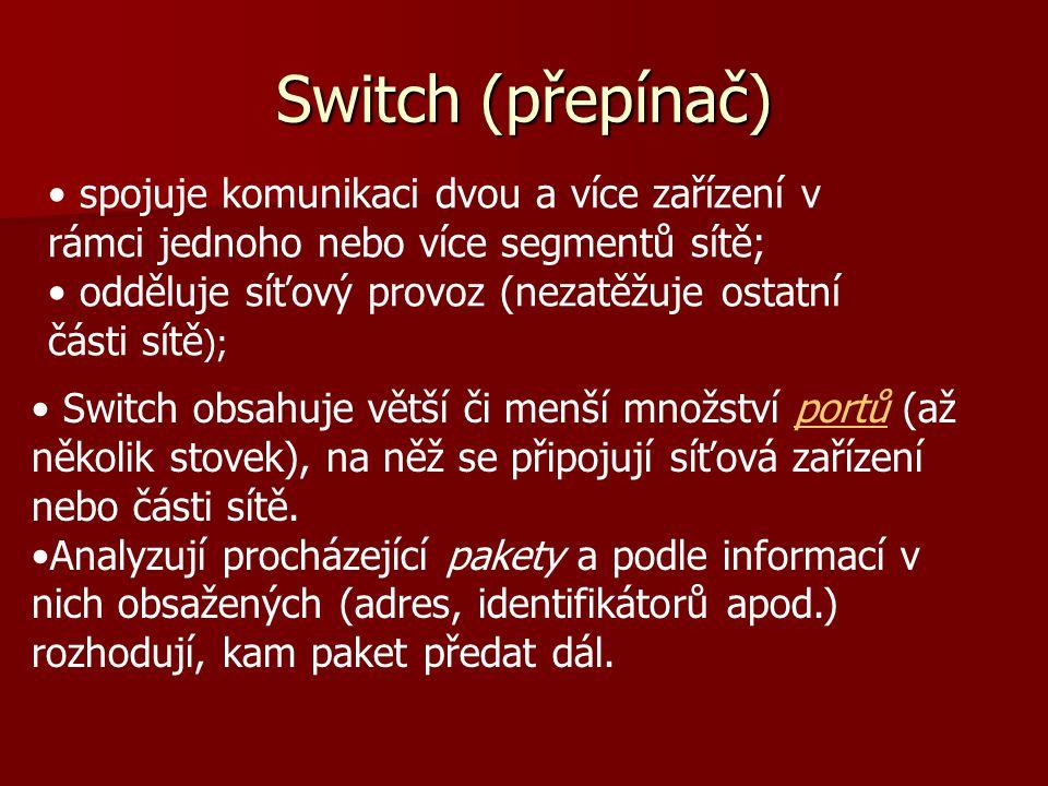 Switch (přepínač) Switch obsahuje větší či menší množství portů (až několik stovek), na něž se připojují síťová zařízení nebo části sítě.portů Analyzu