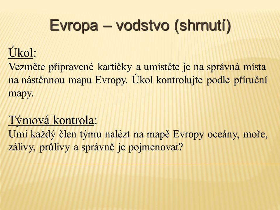 Evropa – vodstvo (shrnutí) Úkol: Vezměte připravené kartičky a umístěte je na správná místa na nástěnnou mapu Evropy. Úkol kontrolujte podle příruční