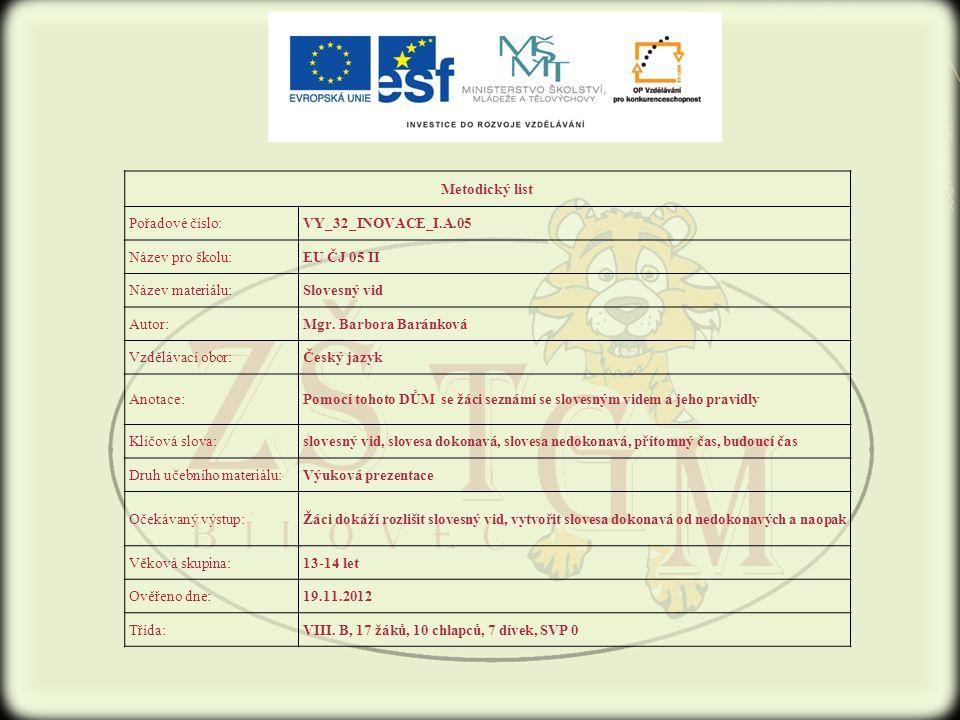 Metodický list Pořadové číslo:VY_32_INOVACE_I.A.05 Název pro školu:EU ČJ 05 II Název materiálu:Slovesný vid Autor:Mgr.