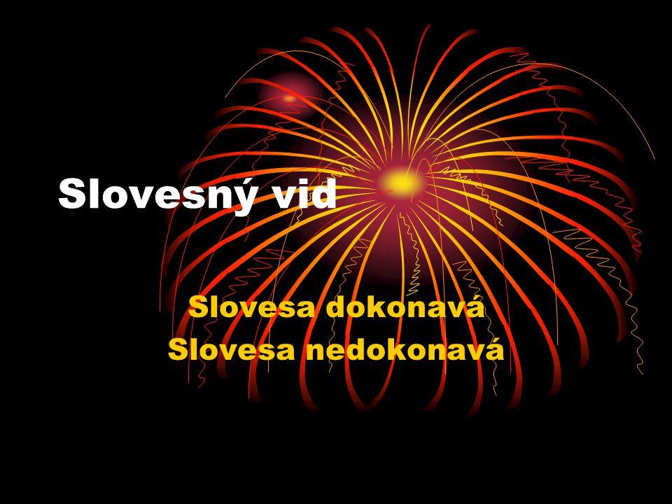 Slovesný vid Slovesa dokonavá Slovesa nedokonavá