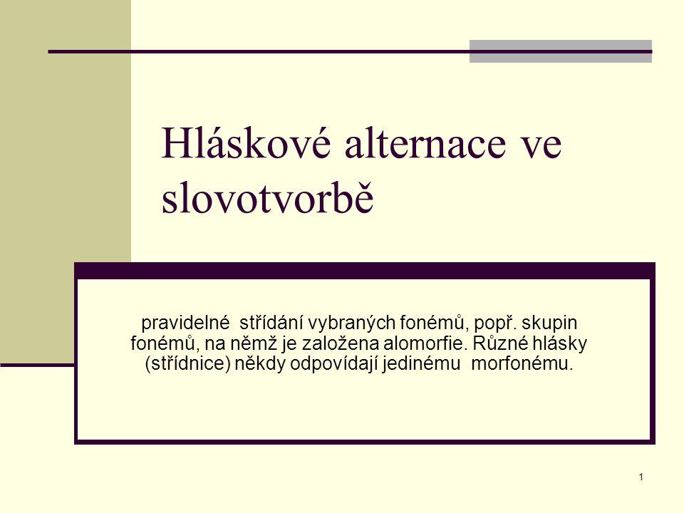 42 Hláskové alternace sloves Samohláskové alternace kořenového vokálu Samohláskové alternace kmenotvorné přípony (ve slovotvorbě se projeví pouze tam, kde je kmenotvorná přípona součástí odvozovacího základu)