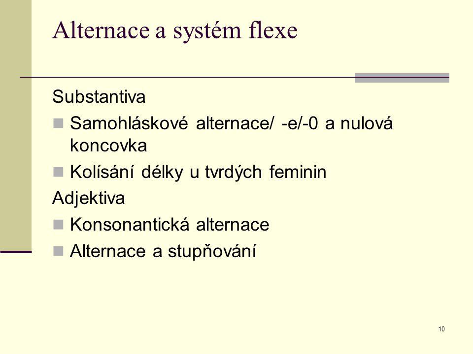 10 Alternace a systém flexe Substantiva Samohláskové alternace/ -e/-0 a nulová koncovka Kolísání délky u tvrdých feminin Adjektiva Konsonantická alter