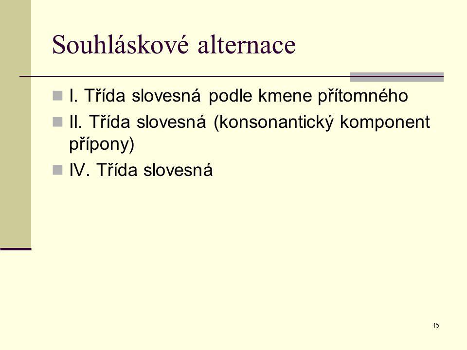 15 Souhláskové alternace I. Třída slovesná podle kmene přítomného II. Třída slovesná (konsonantický komponent přípony) IV. Třída slovesná