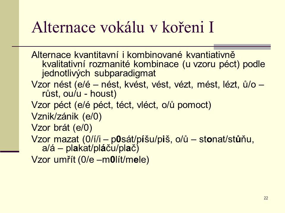 22 Alternace vokálu v kořeni I Alternace kvantitavní i kombinované kvantiativně kvalitativní rozmanité kombinace (u vzoru péct) podle jednotlivých sub