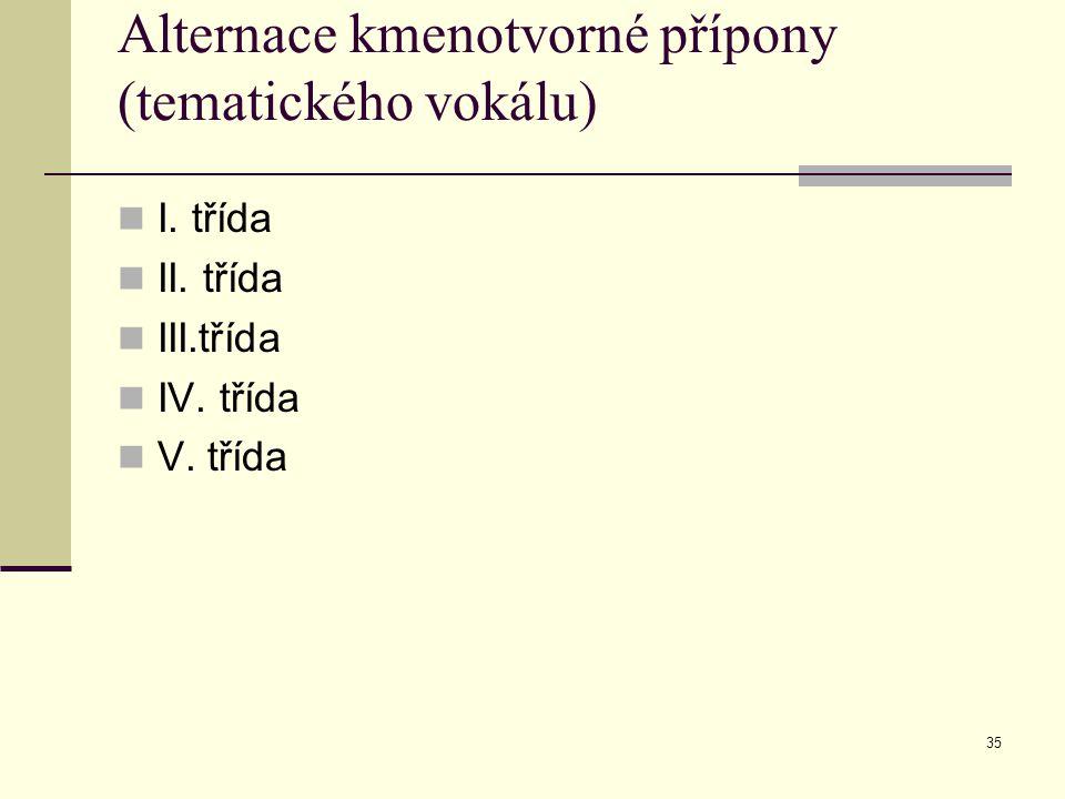 35 Alternace kmenotvorné přípony (tematického vokálu) I. třída II. třída III.třída IV. třída V. třída