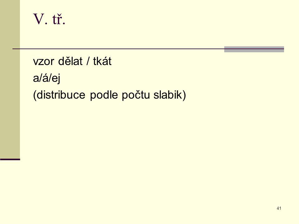 41 V. tř. vzor dělat / tkát a/á/ej (distribuce podle počtu slabik)
