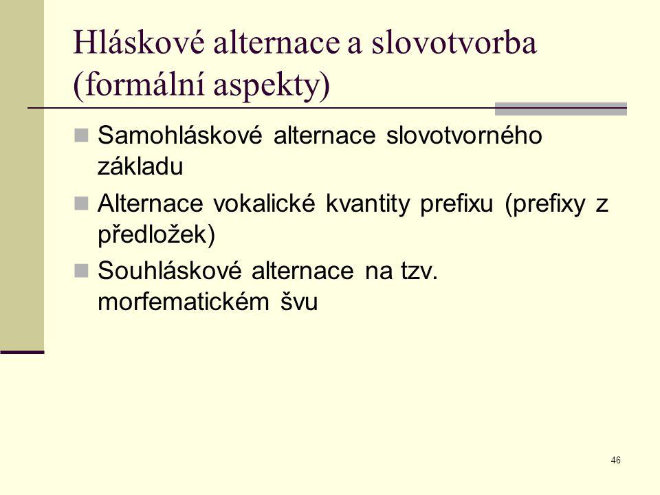 46 Hláskové alternace a slovotvorba (formální aspekty) Samohláskové alternace slovotvorného základu Alternace vokalické kvantity prefixu (prefixy z př