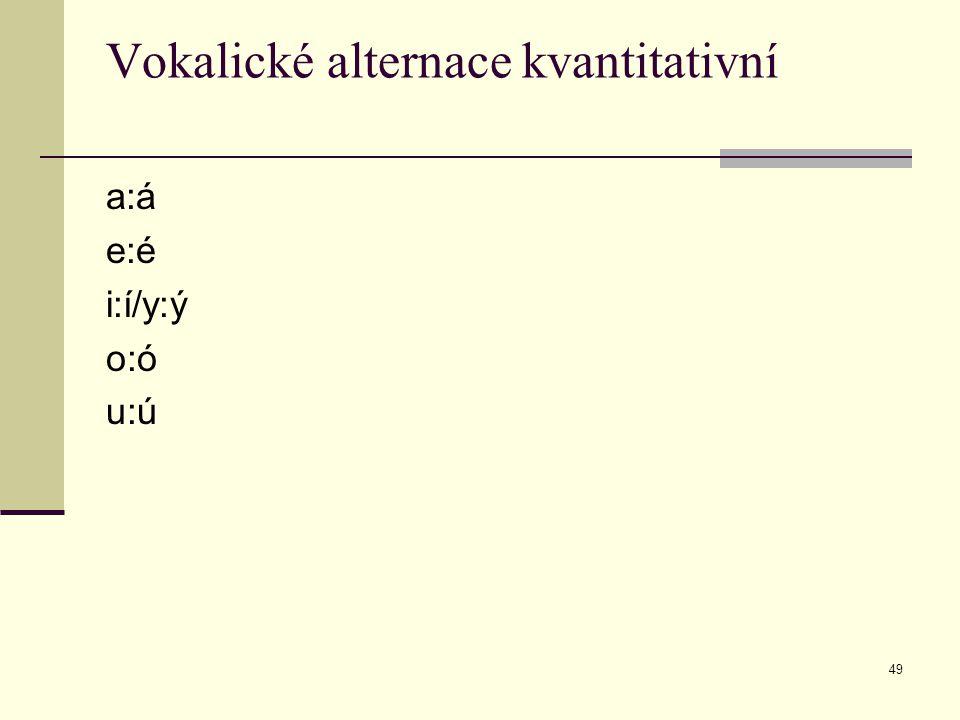 49 Vokalické alternace kvantitativní a:á e:é i:í/y:ý o:ó u:ú