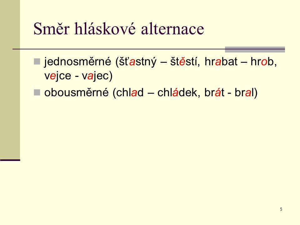 6 Podle klasifikace alternujících hlásek vokalické (mráz, mraz-u, mraz-ivý) konsonantické (vlk, vlc-i, vlč-í) smíšení (stát, stoj-í-m) více alternací (vys-ok-o, výš-0-e)