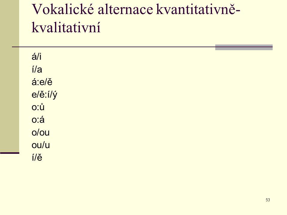 53 Vokalické alternace kvantitativně- kvalitativní á/i í/a á:e/ě e/ě:í/ý o:ů o:á o/ou ou/u í/ě