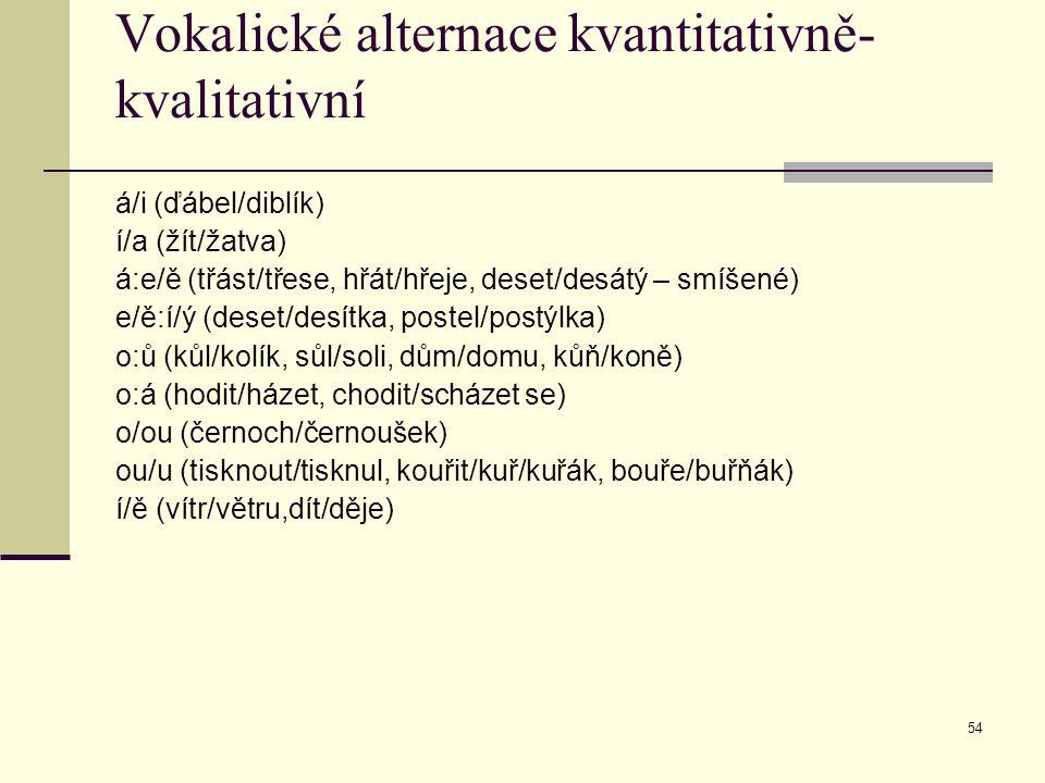 54 Vokalické alternace kvantitativně- kvalitativní á/i (ďábel/diblík) í/a (žít/žatva) á:e/ě (třást/třese, hřát/hřeje, deset/desátý – smíšené) e/ě:í/ý
