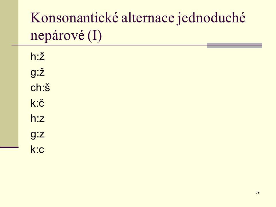 59 Konsonantické alternace jednoduché nepárové (I) h:ž g:ž ch:š k:č h:z g:z k:c