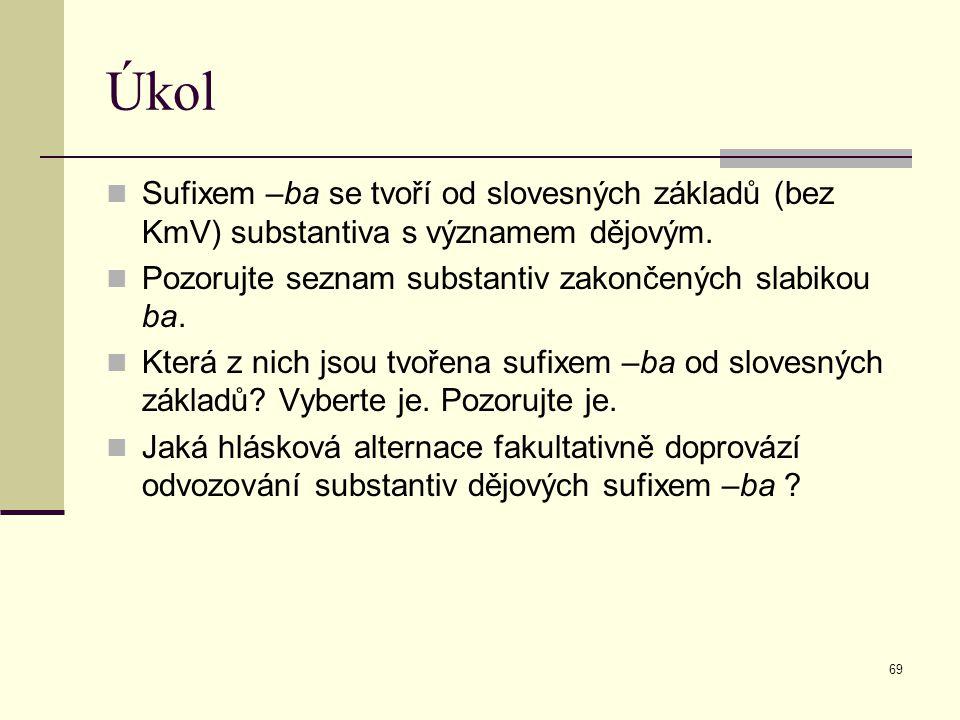 69 Úkol Sufixem –ba se tvoří od slovesných základů (bez KmV) substantiva s významem dějovým. Pozorujte seznam substantiv zakončených slabikou ba. Kter