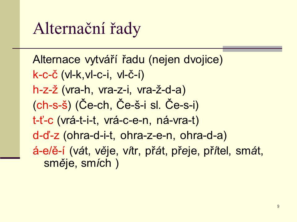 9 Alternační řady Alternace vytváří řadu (nejen dvojice) k-c-č (vl-k,vl-c-i, vl-č-í) h-z-ž (vra-h, vra-z-i, vra-ž-d-a) (ch-s-š) (Če-ch, Če-š-i sl. Če-