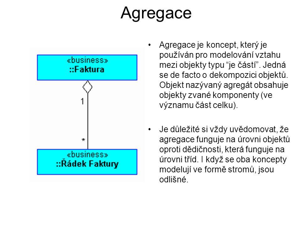 """Agregace Agregace je koncept, který je používán pro modelování vztahu mezi objekty typu """"je částí"""". Jedná se de facto o dekompozici objektů. Objekt na"""