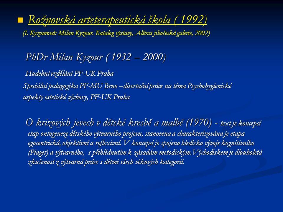 Rožnovská arteterapeutická škola ( 1992) Rožnovská arteterapeutická škola ( 1992) (I. Kyzourová: Milan Kyzour. Katalog výstavy, Alšova jihočeská galer