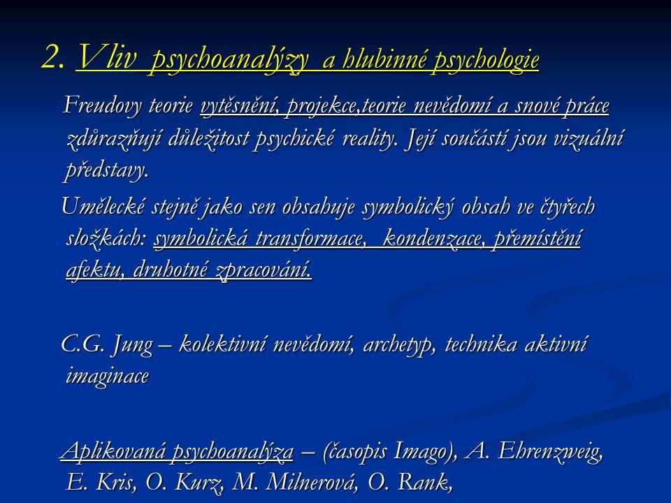 psychoanalýzy a hlubinné psychologie 2. Vliv psychoanalýzy a hlubinné psychologie Freudovy teorie vytěsnění, projekce,teorie nevědomí a snové práce zd
