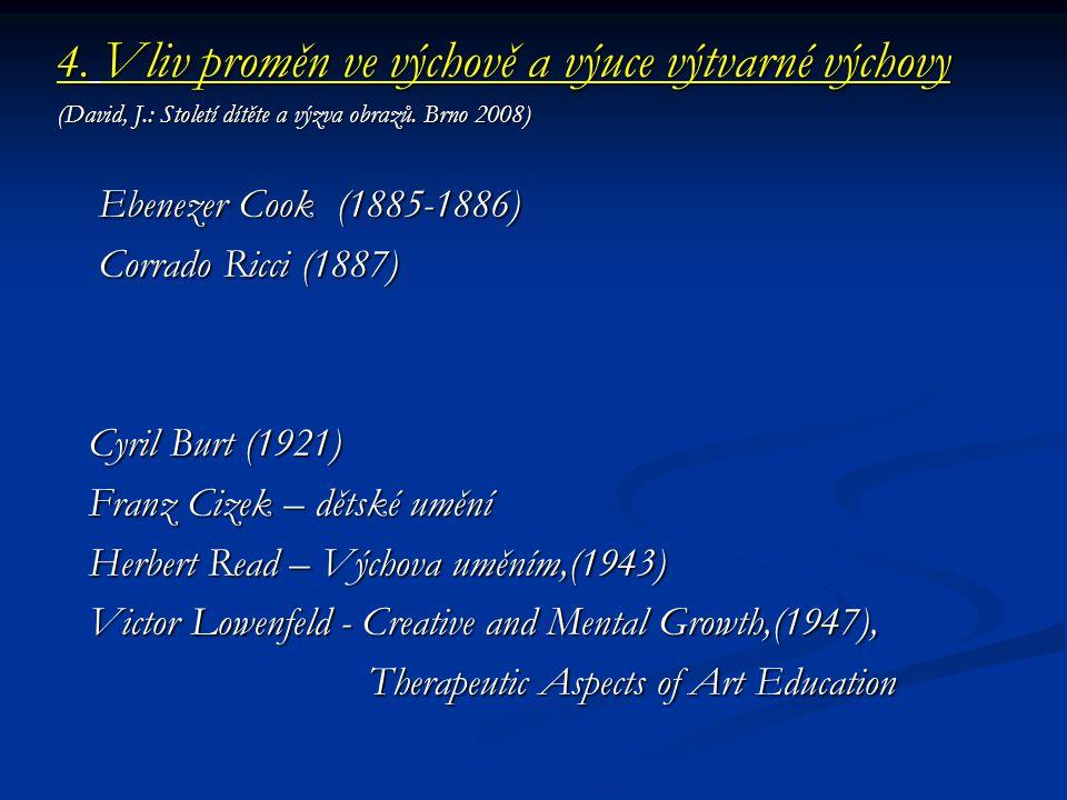 4. Vliv proměn ve výchově a výuce výtvarné výchovy (David, J.: Století dítěte a výzva obrazů. Brno 2008) Ebenezer Cook (1885-1886) Ebenezer Cook (1885